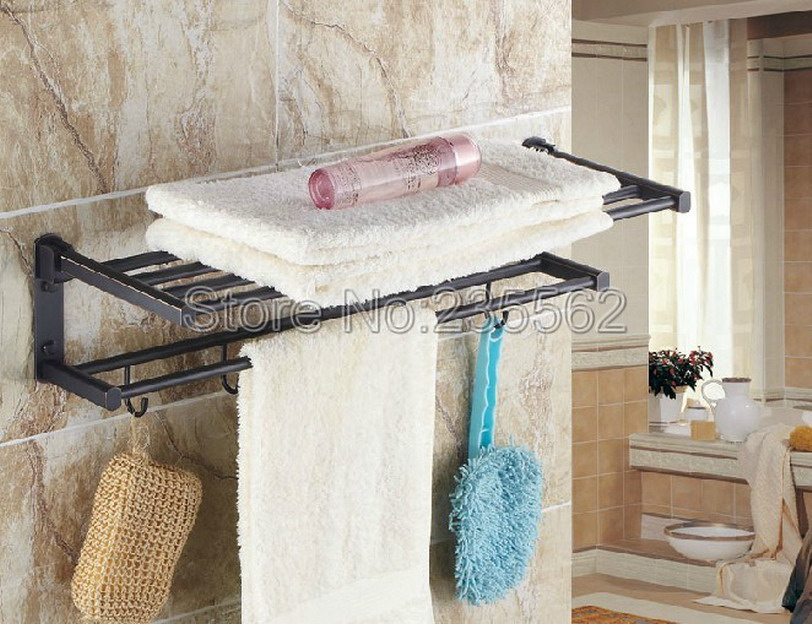 Black Oil Rubbed Brass Wall Mounted Bathroom Towel Rack Holders Shower Towel Rack Shelf Bar Rails Holder lba321 black space aluminum wall mounted foldable bathroom towel rack holders shower towel rack shelf bar with hooks