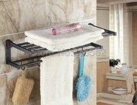 Black Oil Rubbed Brass Wall Mounted Bathroom Towel Rack Holders Shower Towel Rack Shelf Bar Rails Holder lba321