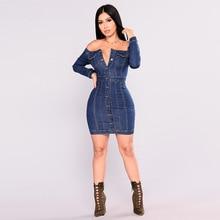 Sexy  Slash Neck Long Sleeve Elegant Slim Jean Women Dress Single Breasted Club Above Knee, Mini Dresses Vestidos Clothing