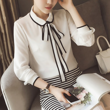 Autumn Korean new dress Lapel lace edging long sleeved chiffon shirt made of 0811 wholesale entities