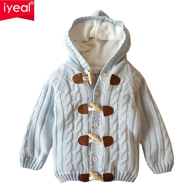 IYEAL Boys Cardigan Winter Causal Hooded Long Sleeve Thicken Warm Sweater Baby Horn Button Fleece Cardigan Kids Girls Sweaters