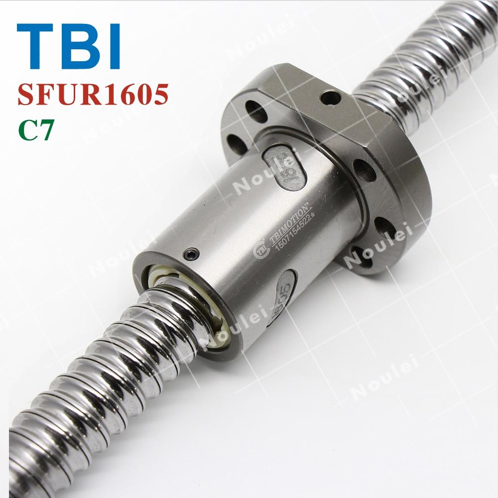 TBI 5mm Lead C7 1605 Ballscrews, BK12 BF12 Ballscrew 300m+Ballnut SFU1605 for cnc tbi 2505 c3 800mm ballscrew 5mm lead ground with sfu2505 ballnut