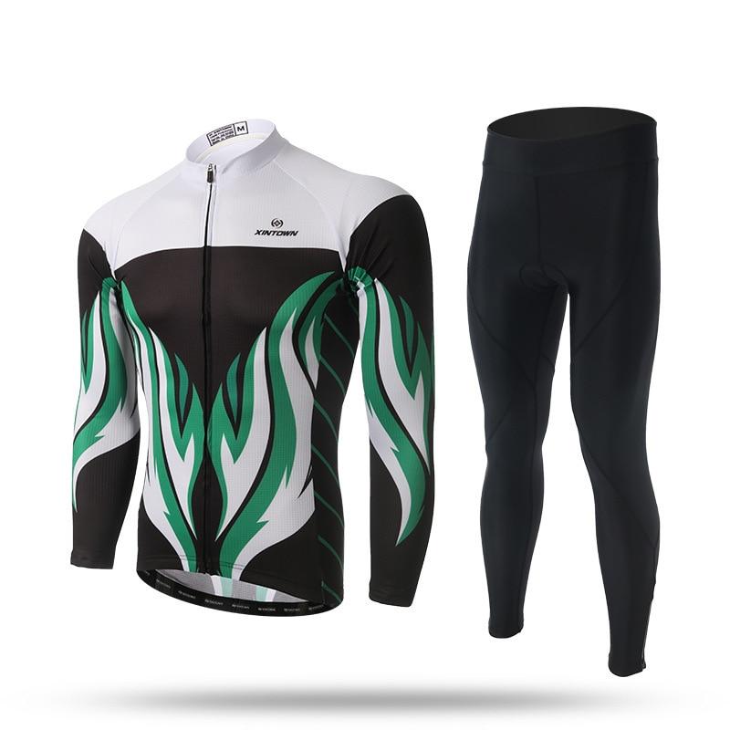 BOODUN Men's Cycling Clothing Bike Bicycle Long Sleeve Jersey Jacket Sets For Spring Autumn Summer cycling bike bicycle handlebar tape belt wrap w bar plug yellow camouflage 2 pcs