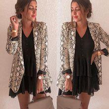 New 2019 Usa Spring And Autumn Womens Snake Print Fashion Casual Blazer Tassel Office Lady Blazers