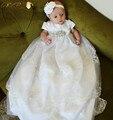 2016 Recién Nacido Vestido de Seda de Raso Blanco/de Marfil Del Cordón de Los Bebés vestido de Bautizo Bautismo Cinturón Brillante Vestido Formal Con diadema