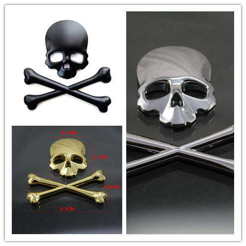 3D Crossbones Skull Demon Metal Logo Emblem Badge Decal Tank Sticker for Harley Honda Kawasaki Suzuki Yamaha KTM  DUCATI CUSTOM