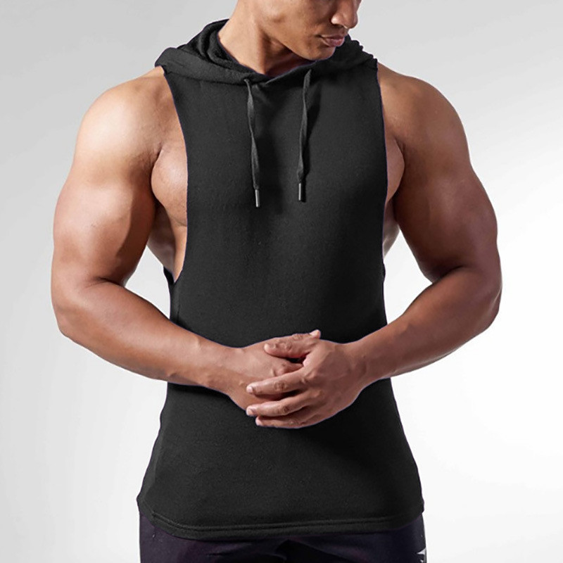 Fitness   Tank     Tops   Hooded TANKTOP Solid Color Men Bodybuilding Clothing Sleeveless Crossfit   Tanks     Tops   Boys Workout Tees Singlets