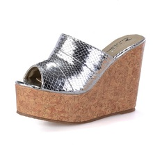 Europe America Fashion Sliver/Gold High Heels Slippers For Women Platform Wedges Sandals Sexy Cool Slippers Big Size 40-43