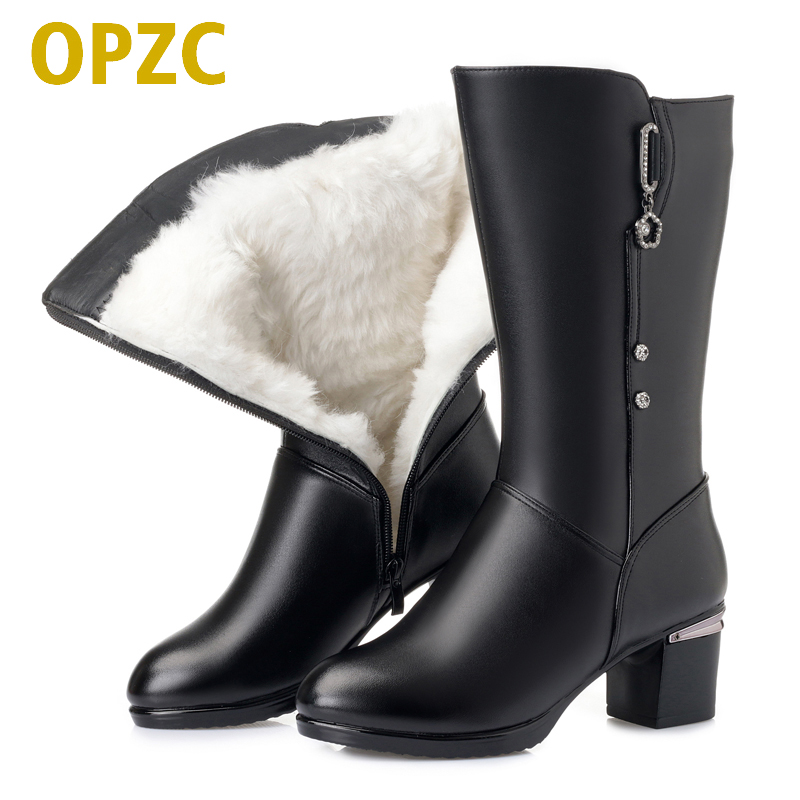 OPZC Female motorcycle boots 2018 new genuine leather women dress boots, big size 41 42 43 thick wool winter boots,party shoes aiyuqi big size 41 42 43 women s comfortable shoes 2018 new spring leather shoes dress professional work mother shoes women