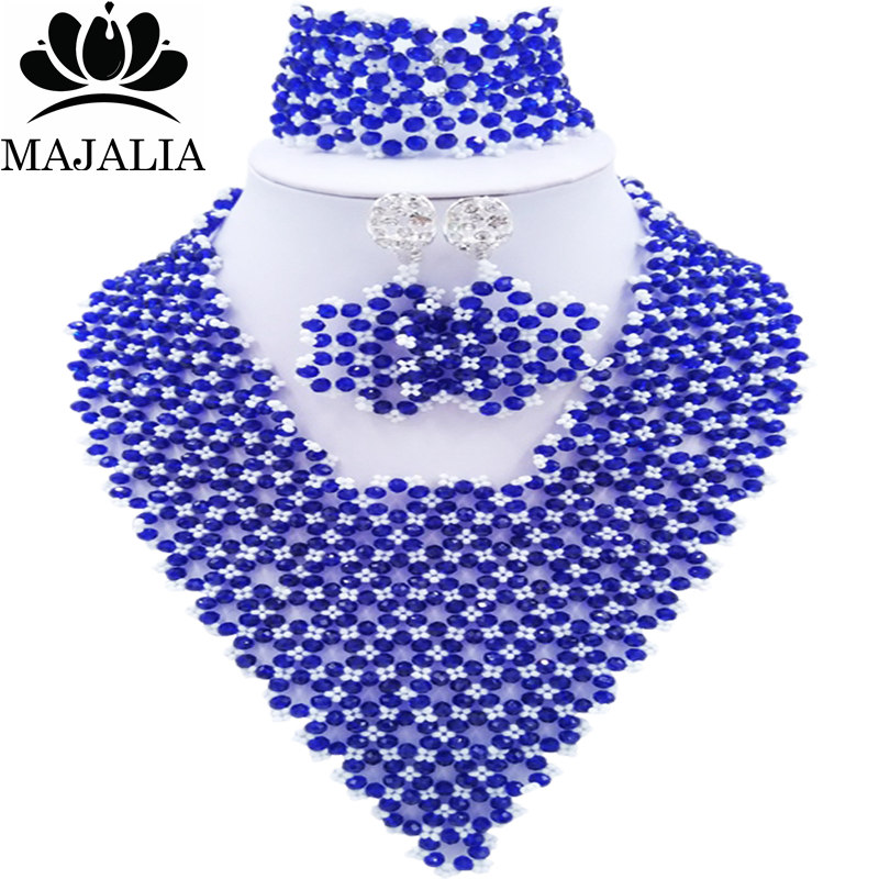 Здесь продается  Majalia Fashion Nigeria African Wedding Jewelry Crystal Royal Blue and White Crystal Bead Necklace Bride Jewelry Sets 4JX013  Ювелирные изделия и часы