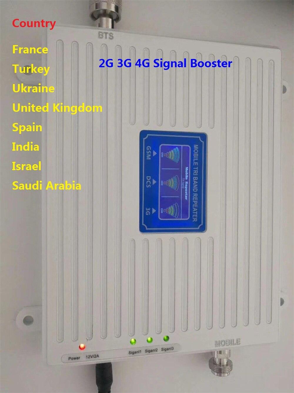 Amplificateur de Signal GSM 900 mhz LTE 1800 mhz UMTS 2100 mhz 2g 3g 4g Tri-Bande Mobile cellulaire Téléphone Signal Booster mobile Répéteur de signal