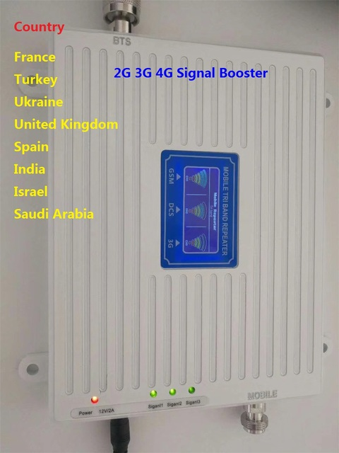 Signal Amplifier GSM 900MHz LTE 1800MHz UMTS 2100MHz 2G 3G 4G Tri Band Mobile Cell Phone Signal Booster mobile signal Repeater
