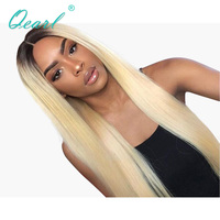 Qearl Hair 150% Lace Front wig 1B#/613# thick density two tone Pre Plucked natural hairline remy Brazilian real hair women wigs