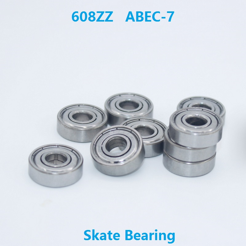 100pcs/lot 608ZZ 608Z bearing 608 ZZ ABEC-7 8*22*7mm gliding skates drift board bearings Miniature 8x22x7 mm high-carbon steel