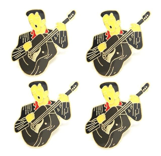 Lots 5 pcs Elvis Guitar Metal Lapel Hat Cap Tie Pin Badge - The King - Rock N Roll Brooch Fans Gifts Jewelry 2.75 CM