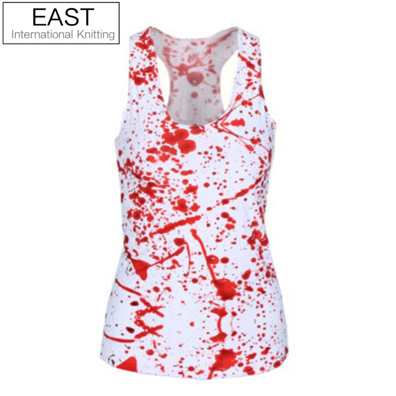 EAST KNITTING X-296 New 2015 Women Brand Tops Blood SPLATTER 3D Print T shirts Punk Summer Camisole
