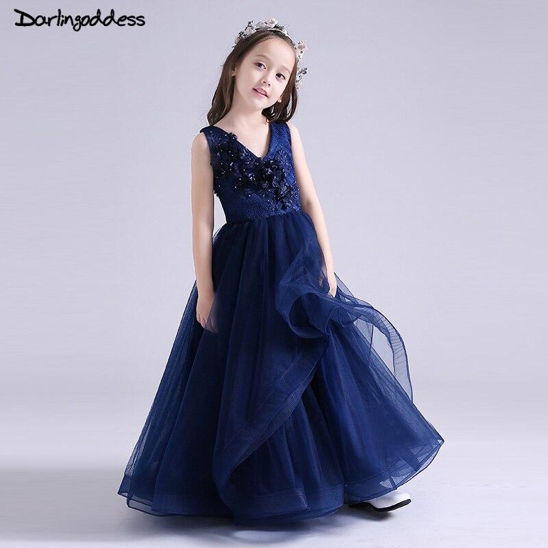 Darlingoddess Luxury Royal Blue   Flower     Girl     Dress   2018 Lace Beaded First Communion   Dresses   for Little   Girls   Kids Pageant   Dress