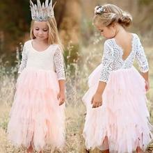 2018 Summer Girl Dresses Lace Princess Backless Floral Kids Dress Party Birthday Ceremony Girl Bridesmaid Vestido Menina 3-8Year