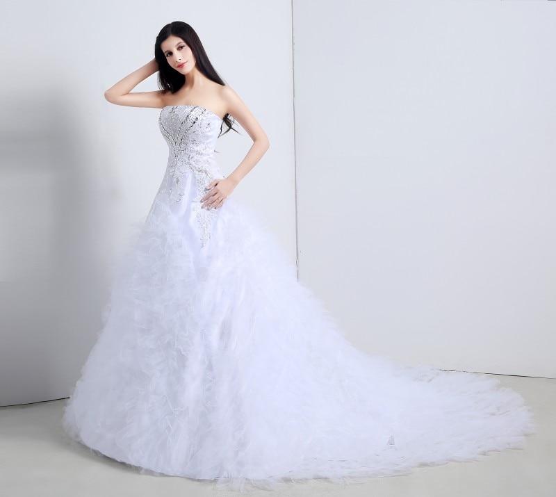 2016 Elegant Church Wedding Dresses A line Strapless Lace Up ...