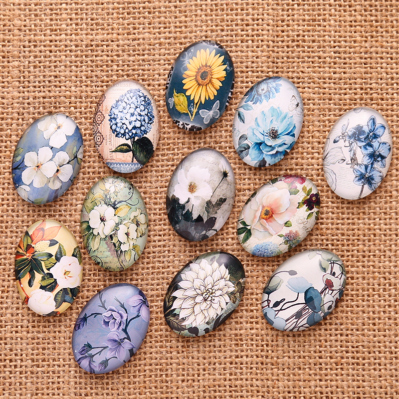 20pcs Mixed Oval White Flower Photo Glass Cabochon 18*25mm diy flatback handmade cameo findings for Pendants making цена