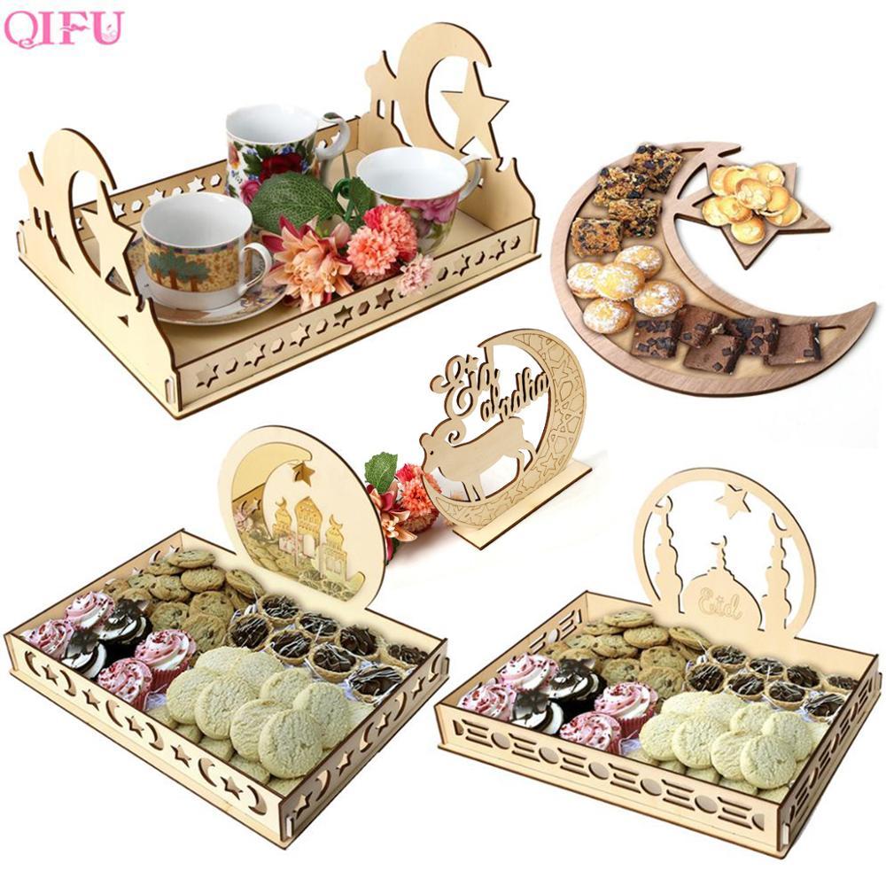 Decoração de ramadã para alimento, decoração temática de madeira para ramadã