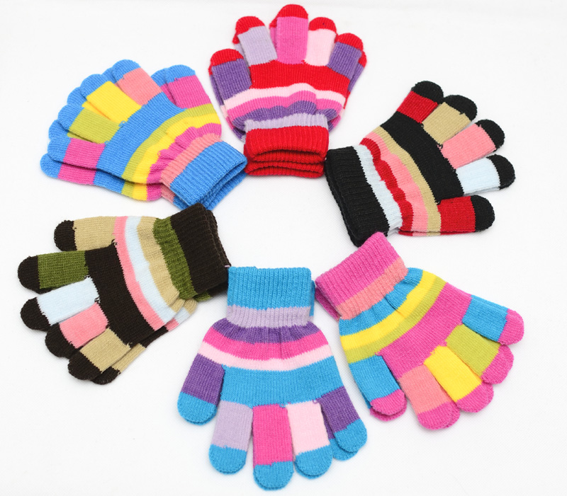 Winter Warm Kids Toddler Mittens Gloves Boys Girs Striped Soft Kids Gloves Knitted Fitness Children Gloves For Boys Girls 4-10Y