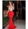 Sexy Profundo Decote Em V Red Prom 2016 Com Mangas Backless Trem Da Varredura Da Sereia Vestido de Noite Longo vestido de festa