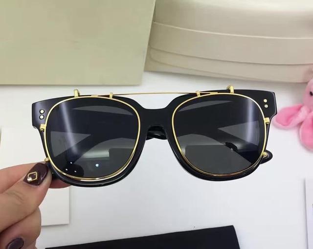 Korea UNA.C Vintage Eyeglass Personality Double SunGlasses Mens/Women Gentle Brand Designer Fashion Clip on Sunglasses with box
