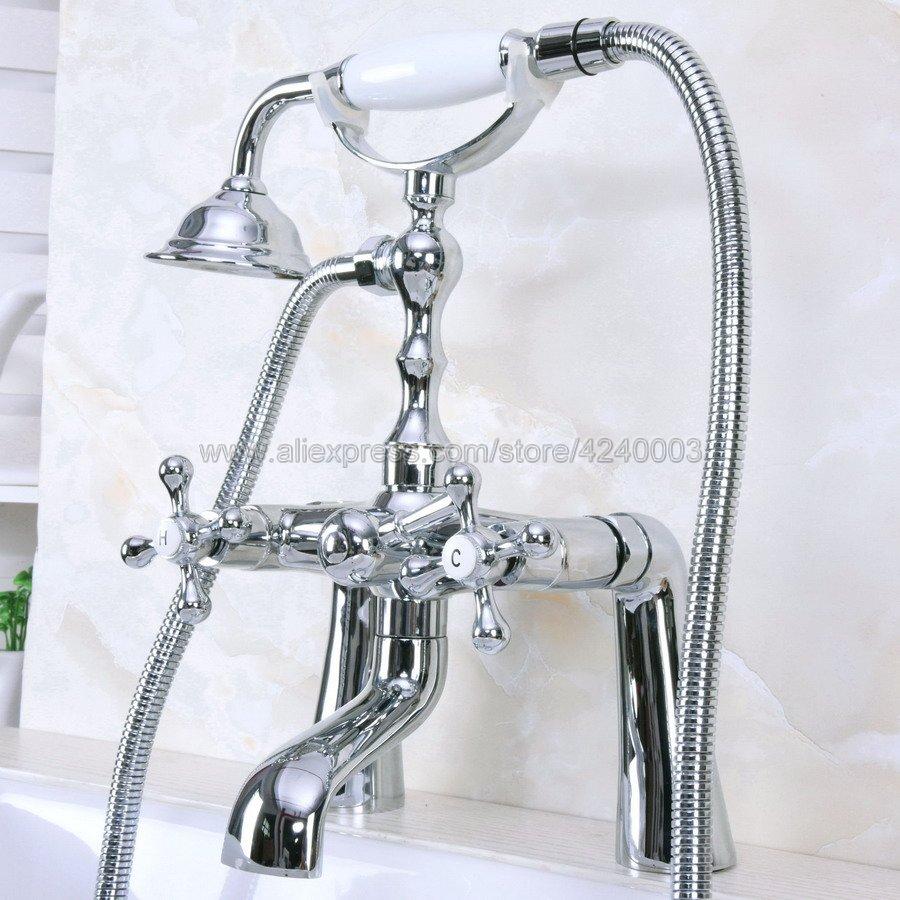 Polished Chrome Deck Mounted Shower Bathroom Tub Faucet Dual Handles W/ Hand Shower Sprayer Kna127Polished Chrome Deck Mounted Shower Bathroom Tub Faucet Dual Handles W/ Hand Shower Sprayer Kna127