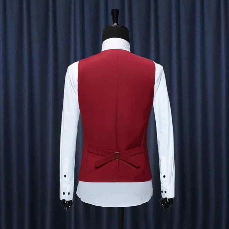 Kamizelka 2020 New Arrival Chaleco Hombre moda solidna dopasowana kamizelka mężczyźni suknia ślubna formalna kamizelka kamizelka homme czarny czerwony niebieski