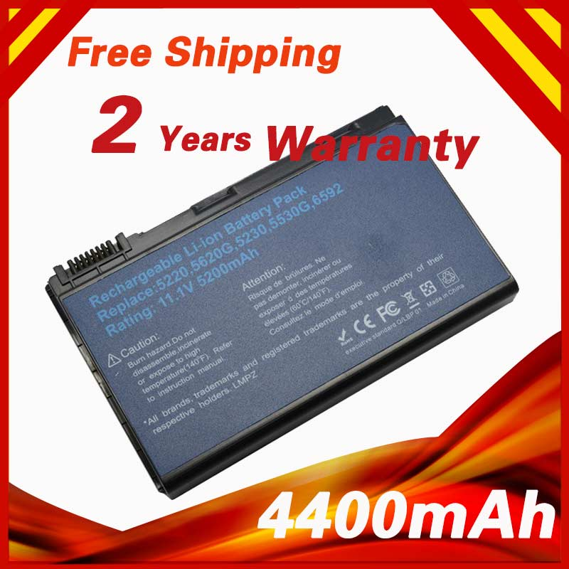 4400mAh Battery For Acer Extensa 5210 5220 5235 5420 5620G 5620Z 5630 GRAPE32 GRAPE34 LC.BTP00.005  TM00741 TM00742 TM00751