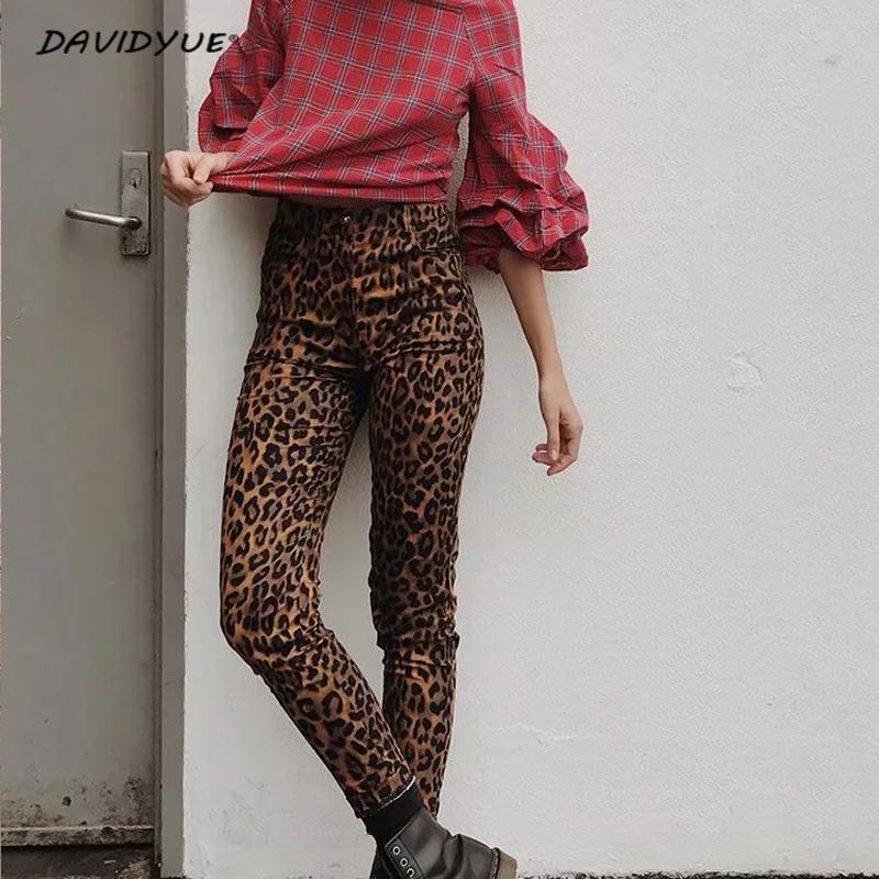 Fashion Leopard print skinny   jeans   Streetwear female high waist   jeans   pencil pants jeggings Punk rock boyfriend   jeans   for women