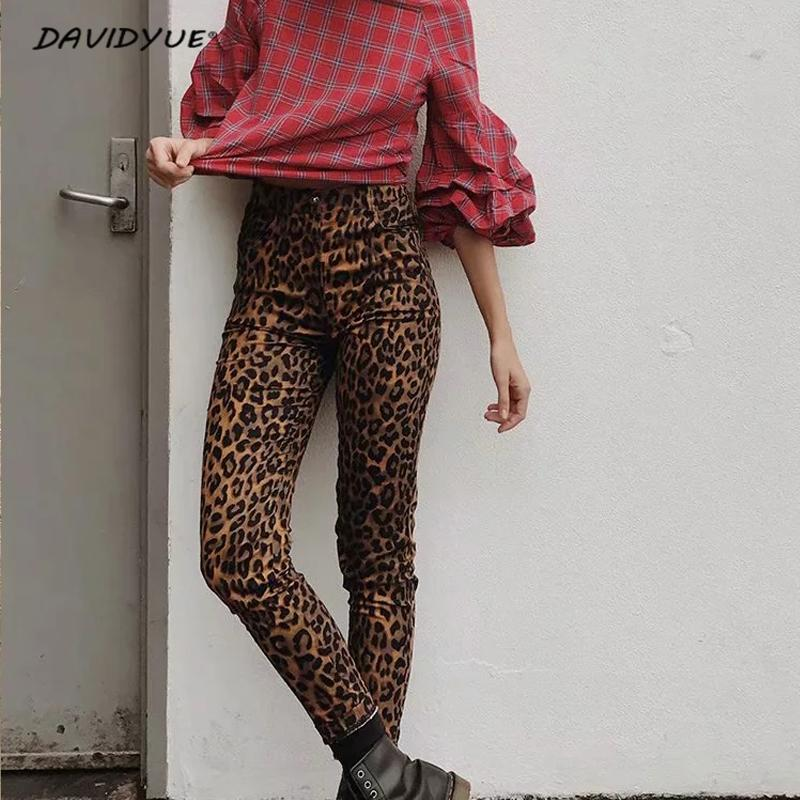 Fashion Leopard Print Skinny Jeans Streetwear Female High Waist Jeans Pencil Pants Jeggings Punk Rock Boyfriend Jeans For Women