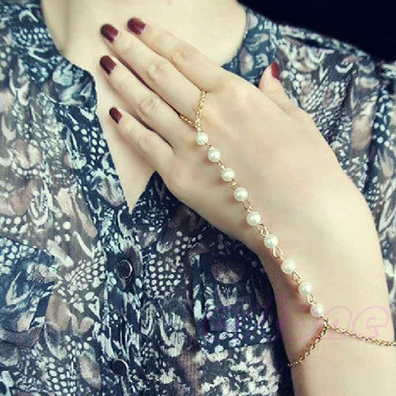 Gorący bubel bransoletka damska bransoletka łańcuch niewolnika palec uprząż złoty ręcznie perła