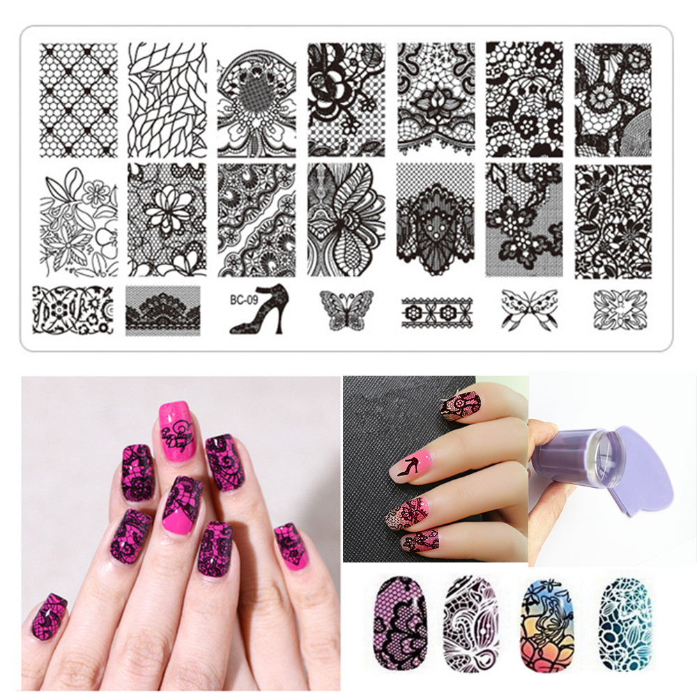 Nail Art Plate Stamp Stamping Set Rectangle Stainless Diy Image