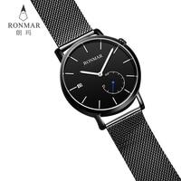 RONMAR new type luminous wrist luxury men wrist stainless steel tevise watch men japan movt watch stainless steel black