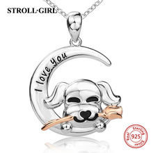 Strollgirl Authentic 100% 925 sterling silver Lovely Pet Dog With Rose Necklaces & Pendants For Women Sterling Silver Jewelry
