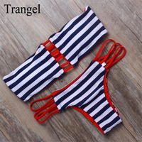 Stripe Print Sexy Brazilian Biquini Suit 2016 Women Swimwear Colorful Style Bikini Summer Low Waist Bikini