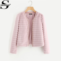 Sheinside Pink Pear Beading Textured Faux Fur Coat 2017 Winter Collarless Cute Outer With Lining Women