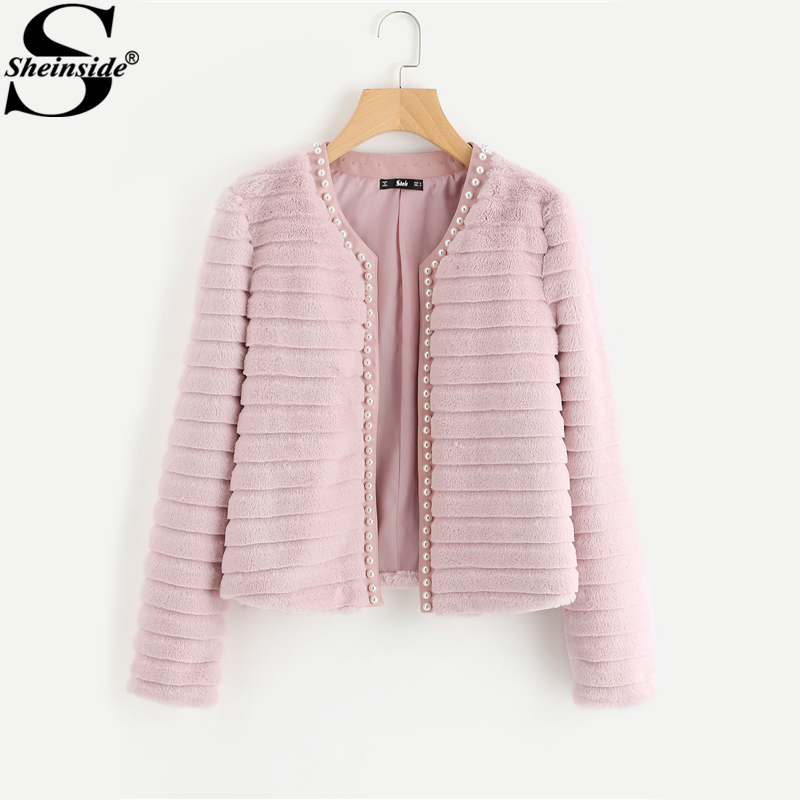 aa70e778c00b Sheinside Pink Pearl Beading Textured Faux Fur Coat Winter Collarless Cute  Outerwear With Lining 2018 Womens Elegant Coats
