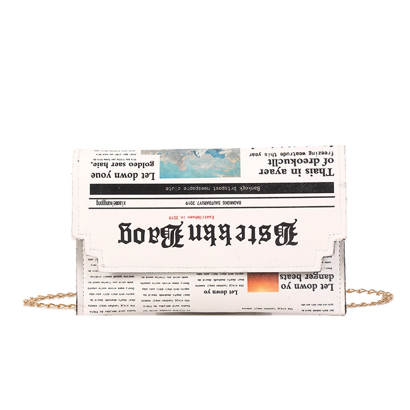 Fashion Newspaper Print Design Women Casual Envelope Bag Day Clutches Chain Purse Crossbody Messenger Bag Shoulder Bag Handbag| | - AliExpress