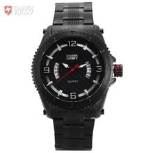 SHARK ARMY Man Sport Alloy Water Resistant 30 M 3ATM A Stainless Steel Date Display Quartz Black Official Box Watch / SAW199