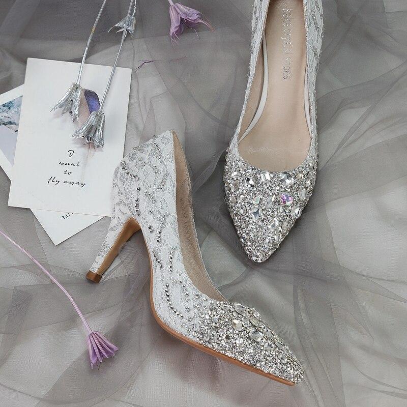 Cristal Chaussure Femmes Princesse Diamant Hauts À De Mariée Talons Mariage à Nouveau Pointe Banquet Chaussures Moyen Des Argent thrBCosQdx