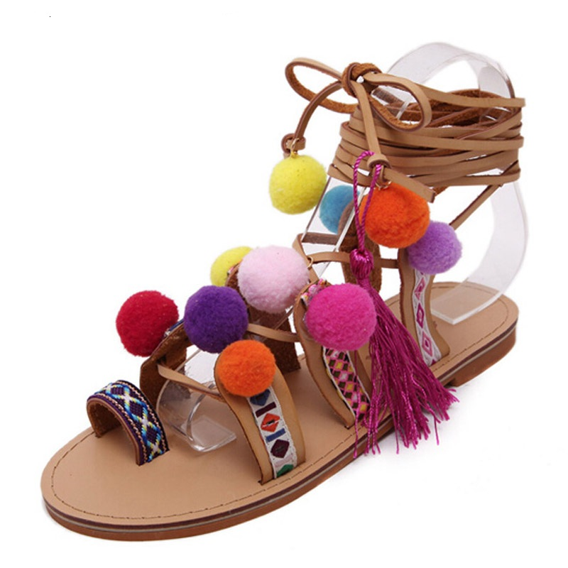 Gladiator Sandals Women Shoes 2016 Tassel Flat Multicolour Fuzz Ball Pom Pom Sandals Female Ankle Leg Strap Bohemia Summer Shoes new 2015 sophia layla metallic leather pom pom sandals women sandals wedding shoes