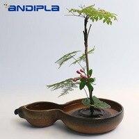 Creative Gourd Ornaments Vintage Ceramic Coarse Pottery Flower Pot Desktop Hydroponics Bonsai Fruit Plate Zen Ceremony Ikebana
