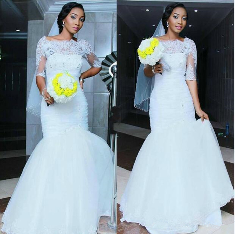 2016 Mermaid Lace African Wedding Dresses Bateau Half Sleeves Applique ...