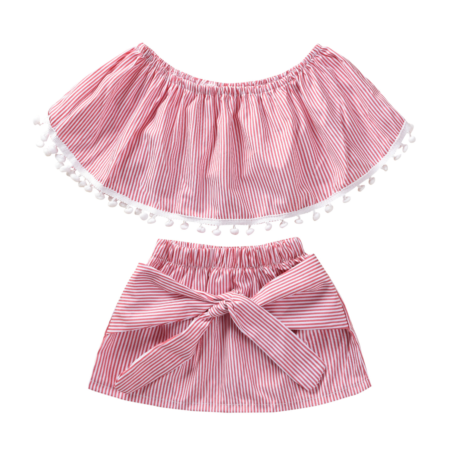 8714f4439 2pcs Kids Baby Girls Clothes Sets Pink Striped Off Shoulder Tassel Tops  Skirt Outfits Clothes 6M-5Y ~ Hot Deal June 2019