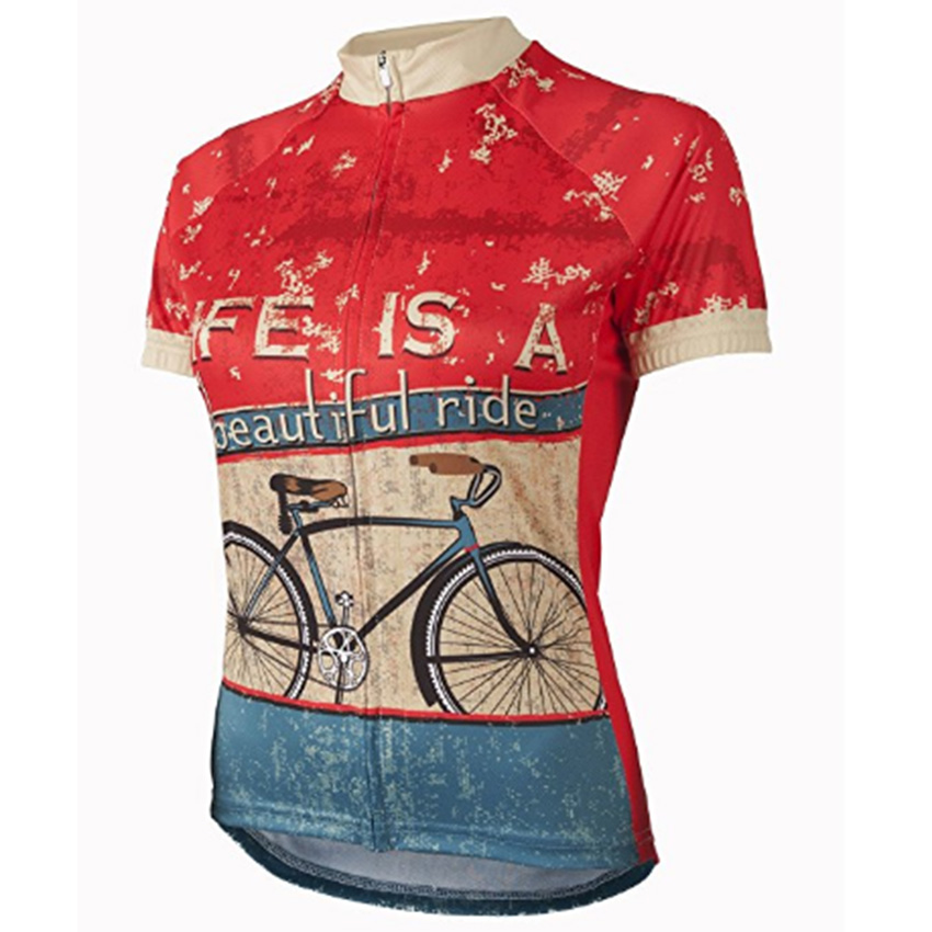 цена на Retro LIFE IS A beautiful ride Women Cycling Jersey Short Sleeve Summer Breathable Cycling Wear Bike Clothes Maillot Ciclismo