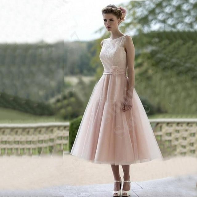 2017 A Line Short Wedding Dresses Blush Pink Tulle Gowns Tea Length Boat Neck Bridal