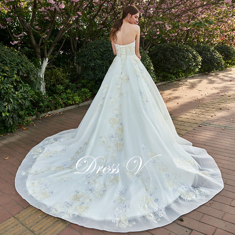 Dressv lace up ivory appliques wedding dress sweetheart for Dresses for church wedding